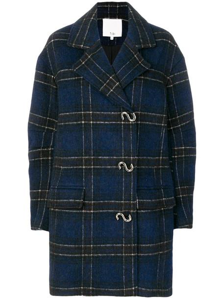 Tibi coat plaid coat women plaid cotton blue