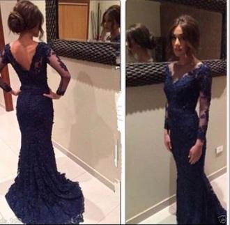 dress navy blue dress mermaid prom dress long sleeves