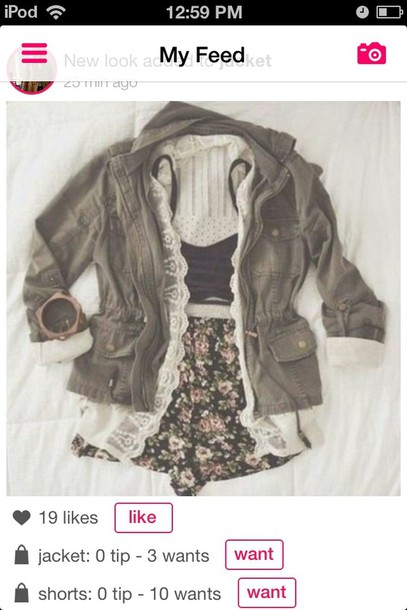 jacket shorts blouse tank top