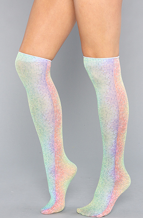 *Karmaloop Accessories Boutique The Rainbow Dots Trouser Knee High Sock