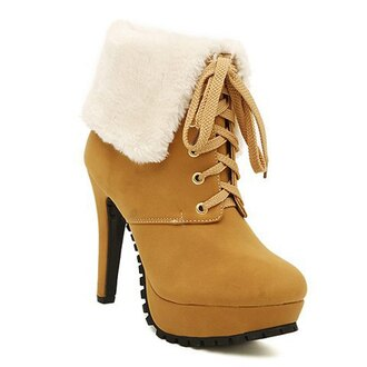 shoes winter outfits boots fall outfits heels fashion style mustard fur platform lace up boots
