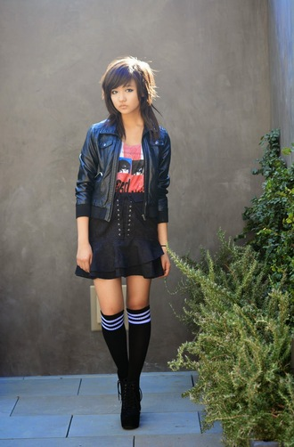 utopia underground blogger knee high socks leather jacket emo black skirt