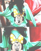 sweater,minnie mouse,green,sweatshirt,jacket,shirt,teal green,yellow bow,yellow,long sleeves,off the shoulder,hoodie,teal