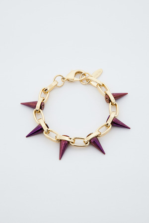 Gold/purple single row spike bracelet