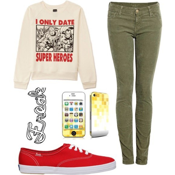 iphone black pants jeans sweater red sweater comics marvel superheroes green
