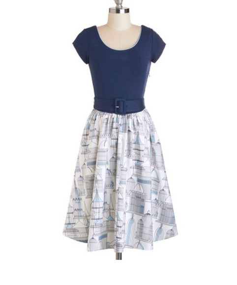 dress blue dress modcloth full skirt