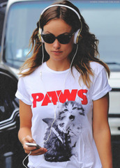 t-shirt,olivia wilde,paws,white,cats,all red wishlist