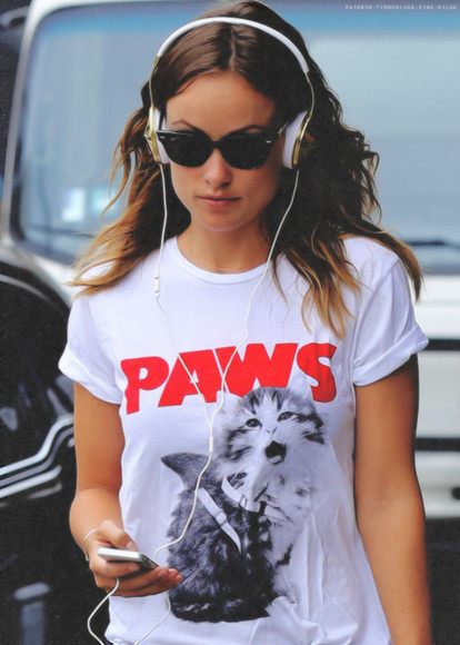 olivia wilde t-shirt white paws cats kitty