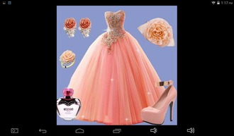 dress pro! xv 15 prom gown pretty cute coral pink ea earringa earrings matching set diamonds shimy shiny rose heels bows sassy loose