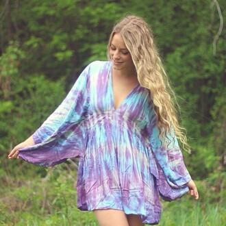 dress tiare hawaii tie dye purple blue short dress long sleeves revolve clothing revolve revolveme