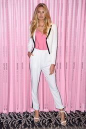 shoes,suit,white,romee strijd,model