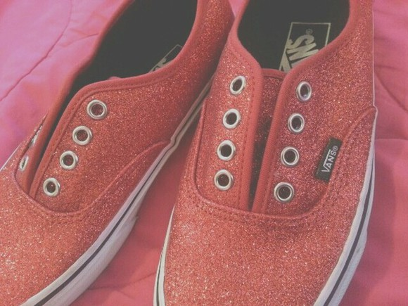 shoes red shoes vans authentic vans off the wall sparkly sparkles cute white, cute, ariana grande , vintage, pretty, girly, ariana grande, kawaii,