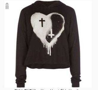 sweater black heart cross heart sweater