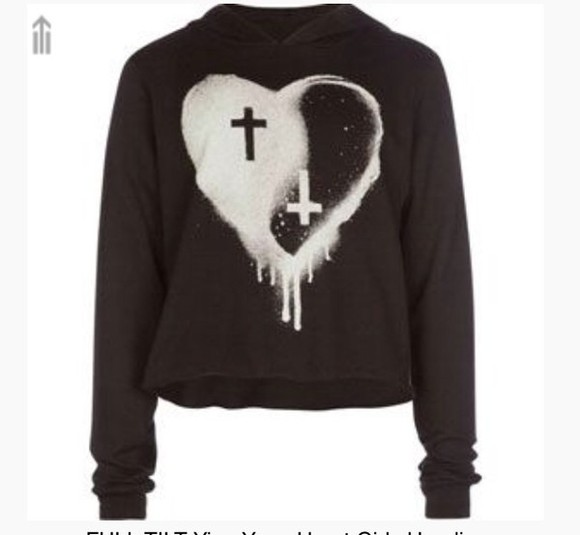black sweater cross heart