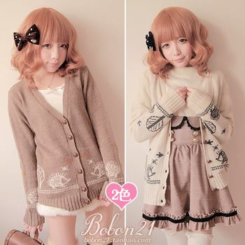 Princess sweet lolita sweater Bobon21 winter new arrival christmas small hedgehog preppy style cardigan t0948-inSweaters from Apparel & Accessories on Aliexpress.com