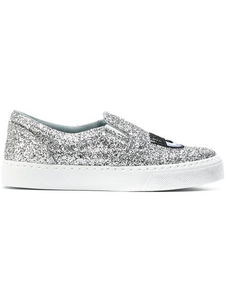 Chiara Ferragni women sneakers leather cotton grey metallic shoes