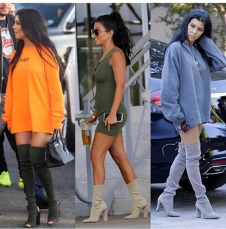 shoes kourtney kardashian boots thigh high boots sweater sweater dress