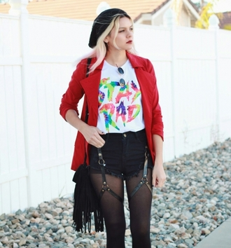streetstyle sexy shorts stylemoi swag red jacket\ red jacket white top