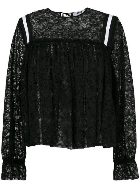 blouse women lace black top
