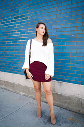 covering bases,curvy,blogger,sweater,shoes,jewels,make-up,off the shoulder,white sweater,burgundy,mini skirt,burgundy skirt,shoulder bag,open toes,suede boots,steve madden,red lipstick,puffed sleeves,white off shoulder top,white top,long sleeves,blouse,white blouse,red skirt,mules