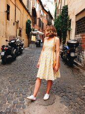 dress,tumblr,yellow,yellow dress,midi dress,sleeveless,sleeveless dress,sneakers,white sneakers,superga,bag,round bag,shoes