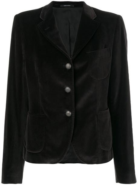 TAGLIATORE blazer women spandex cotton black velvet jacket