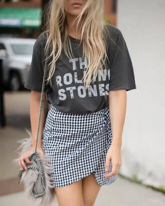 t-shirt tumblr grey t-shirt skirt gingham gingham skirt mini skirt asymmetrical asymmetrical skirt wrap skirt bag