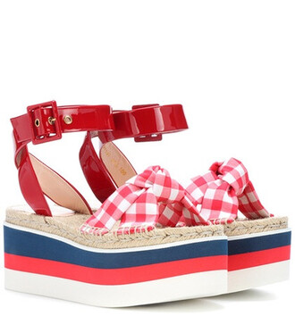 sandals platform sandals leather red shoes