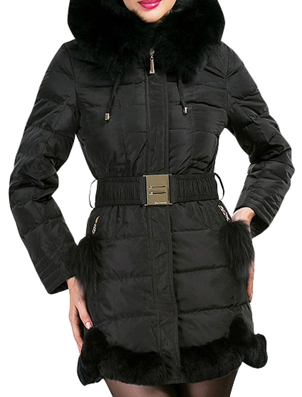 Xin women's luxury large fox fur trim fitted long down coat jacket at amazon women's coats shop