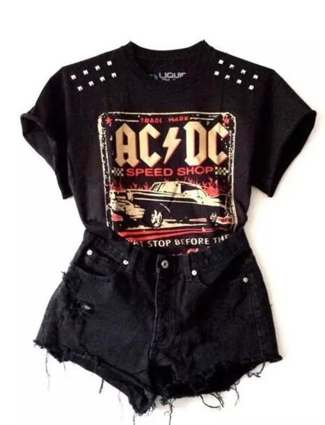 t-shirt shirt top t-shirt acdc ac dc music rock hard rock black studs studded ac/dc black shorts shorts