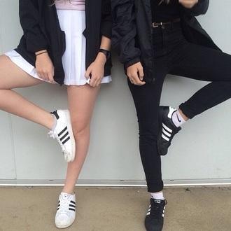 skirt black and white adidas skater skirt jacket tumblr grunge indie pale pale grunge adidas originals shoes adidas shoes causal shoes white black adidas superstars superstar classic