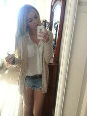 cardigan,acacia brinley,blouse,cute,blonde hair,lovely,iphone,me,outfit,ootd,blondie,High waisted shorts,high waisted denim shorts,comfy,shorts,shirt,white,hipster,high-waist jean shorts,summer
