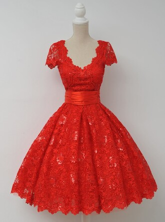 dress red homecoming dress elegant dress v neck dress lace dress cap sleeves homecoming dresses