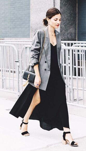 dress black dress black slip dress slip dress maxi dress black maxi dress blazer long blazer grey blazer bag black bag ysl bag ysl sandals mid heel sandals black sandals shoes block heel sandals summer dress slit dress crossbody bag spring outfits