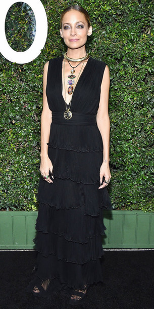Dress Necklace Nicole Richie Black Dress Gown Plunge V Neck