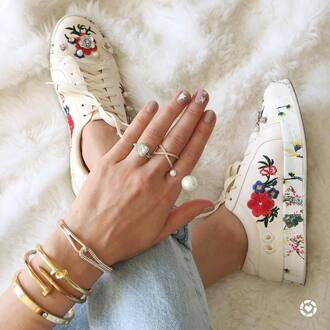 jewels tumblr jewelry accessories accessory ring gold ring pearl stacked bracelets bracelets gold jewelry
