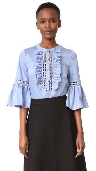 shirt light cotton blue light blue top