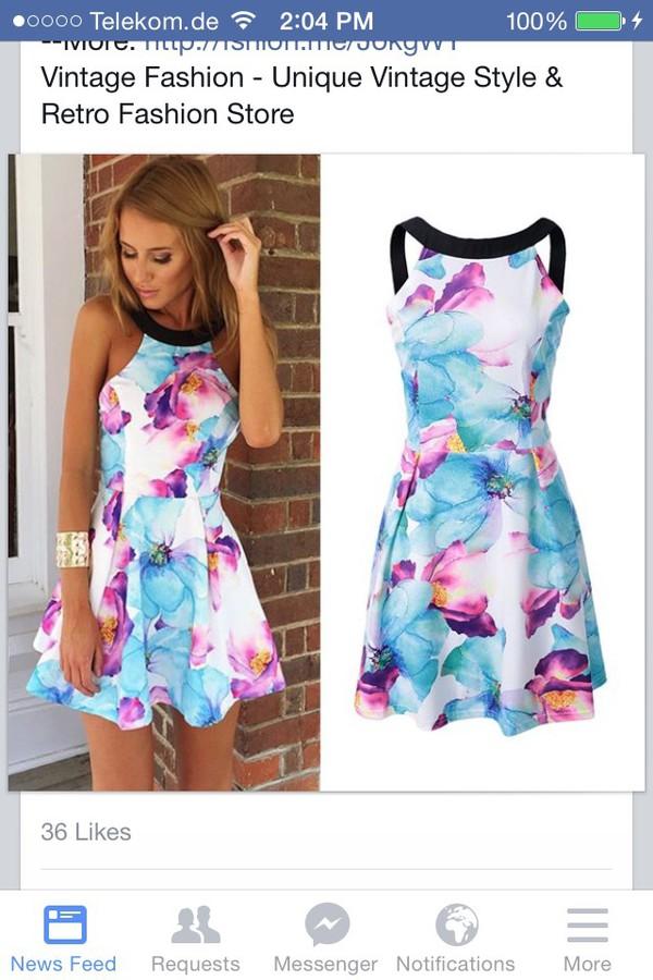 dress floral dress dress cute dress floral white colorful purple summer dress