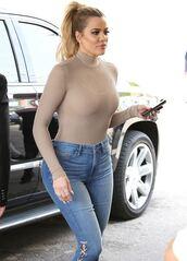 top,jeans,khloe kardashian,kardashians,bodysuit,mesh,mesh top