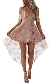 dress,homecoming dress,lace,floral,embroidered,high low dress,pink,off the shoulder