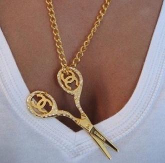 jewels chanel necklace gold diamonds gold details scissors gold chain delicate