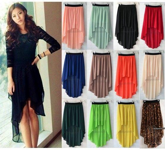 New women chiffon skirt high low asymmetrical long maxi dress elastic waist