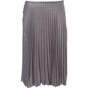 Premium silver lurex pleated midi skirt