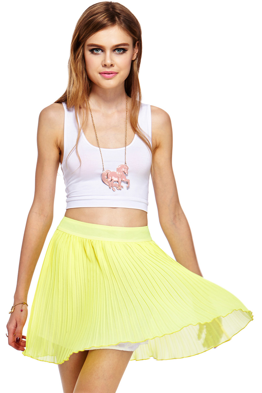 Romwe layered pleated chiffon yellow skirt, the latest street fashion