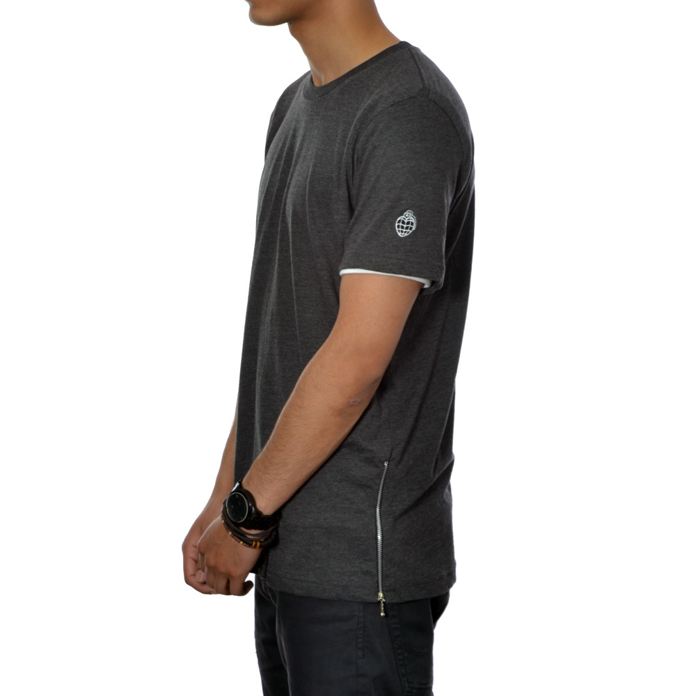 Essential Zip Tee (dark grey heather)