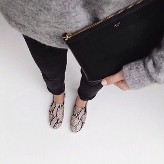 shoes style animal print sneakers comfy fashion tumblr tumblr girl instagram dope fall sweater accessories bag sweater loafers snake print