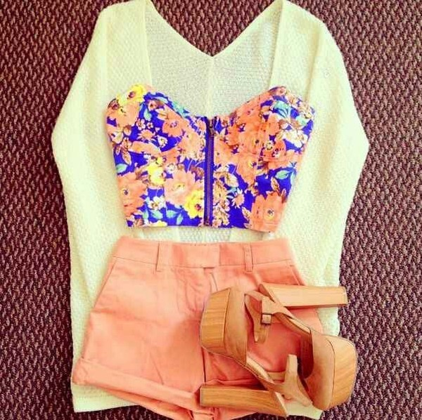 floral crop top pink shorts high heels white sweater shorts cardigan top