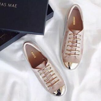 shoes pink gold sneakers beige chic fashion rose