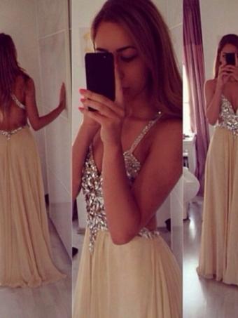 A-line Backless Chiffon Long Prom Dresses, Evening Dresses [B0011] - $172.99 : 24inshop