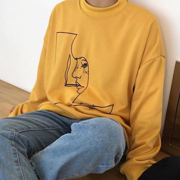 sweater girly printed sweater tumblr mustard mustard sweater